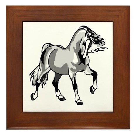 Spirited Horse White Framed Tile