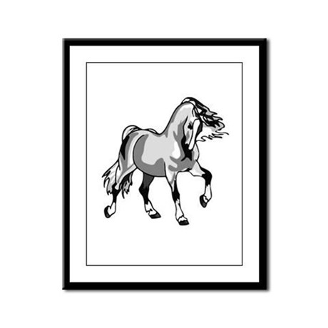 Spirited Horse White Framed Panel Print