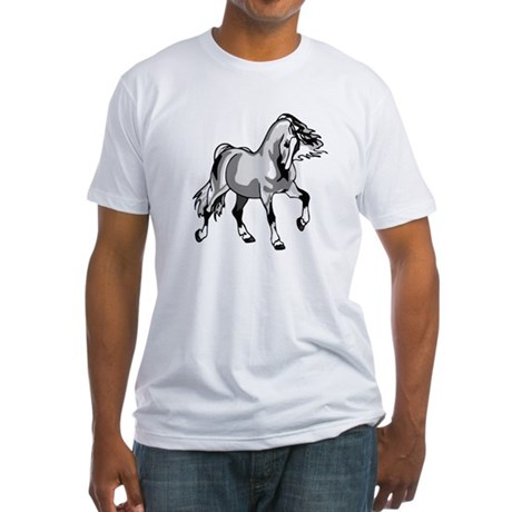 Spirited Horse White Fitted T-Shirt