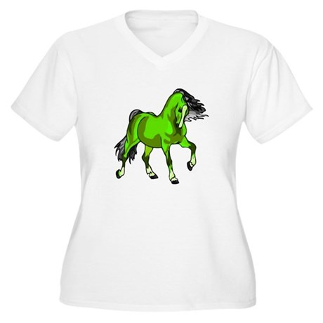 Fantasy Horse Lime Women's Plus Size V-Neck T-Shir