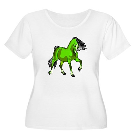 Fantasy Horse Lime Women's Plus Size Scoop Neck T-