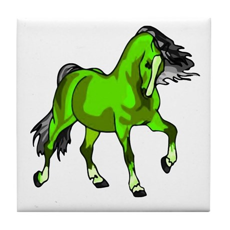 Fantasy Horse Lime Tile Coaster