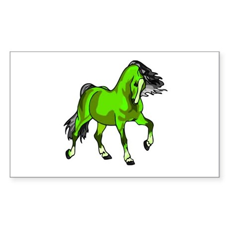 Fantasy Horse Lime Rectangle Sticker