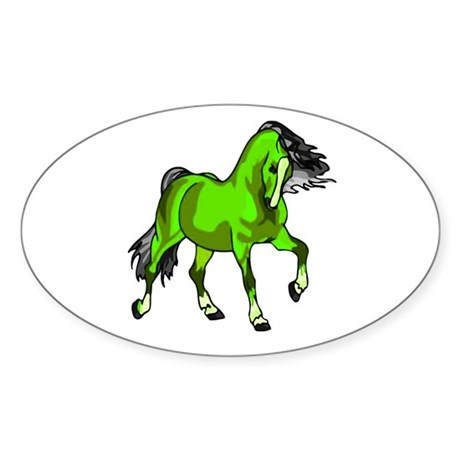 Fantasy Horse Lime Oval Sticker