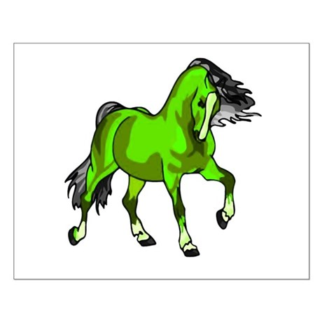 Fantasy Horse Lime Small Poster