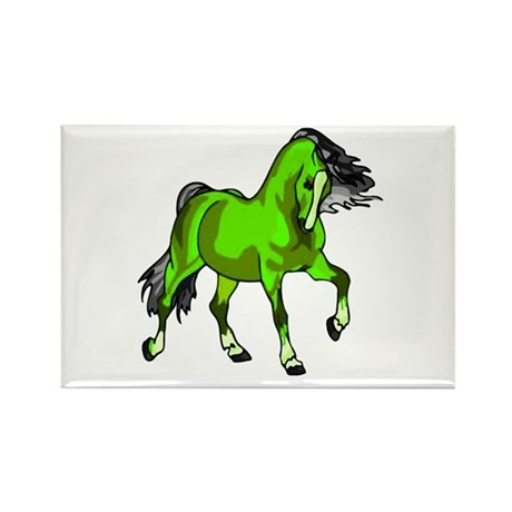 Fantasy Horse Lime Rectangle Magnet
