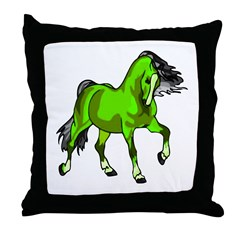 Fantasy Horse Lime Throw Pillow