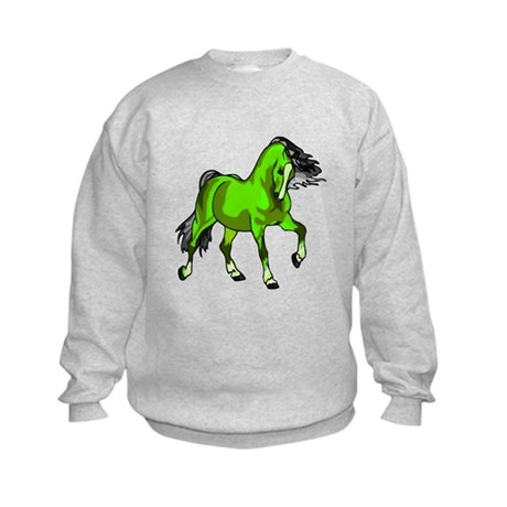 Fantasy Horse Lime Kids Sweatshirt