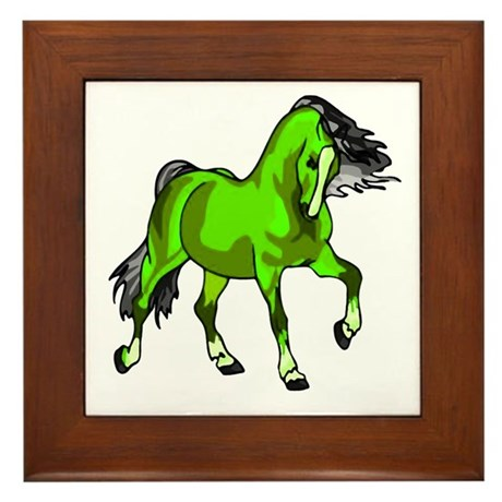 Fantasy Horse Lime Framed Tile