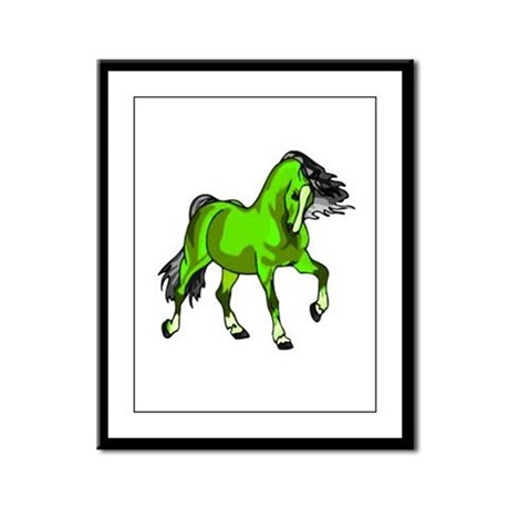 Fantasy Horse Lime Framed Panel Print