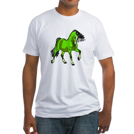 Fantasy Horse Lime Fitted T-Shirt