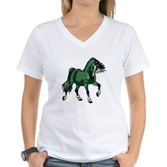 Fantasy Horse Green Women's V-Neck T-Shirt