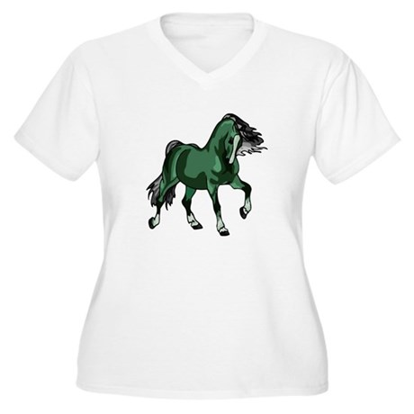 Fantasy Horse Green Women's Plus Size V-Neck T-Shi