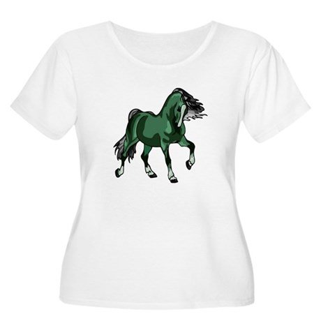 Fantasy Horse Green Women's Plus Size Scoop Neck T