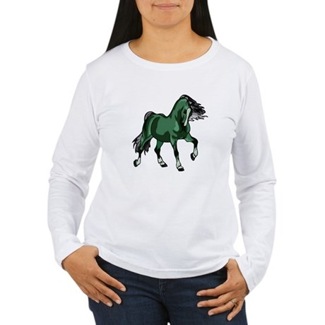 Fantasy Horse Green Women's Long Sleeve T-Shirt