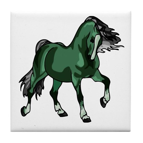 Fantasy Horse Green Tile Coaster