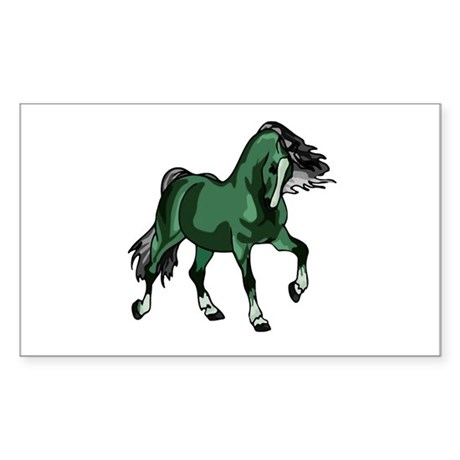 Fantasy Horse Green Rectangle Sticker