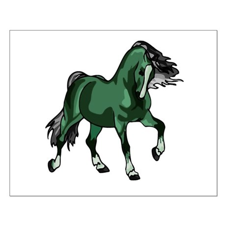 Fantasy Horse Green Small Poster