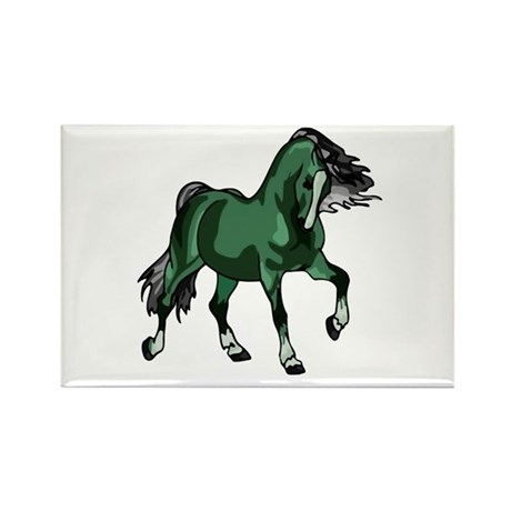Fantasy Horse Green Rectangle Magnet