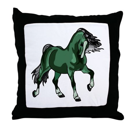 Fantasy Horse Green Throw Pillow