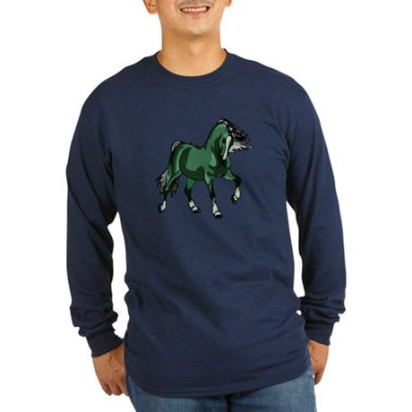 Fantasy Horse Green Long Sleeve Dark T-Shirt