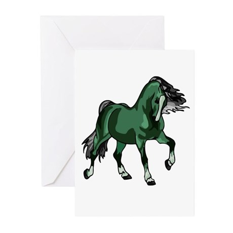 Fantasy Horse Green Greeting Cards (Pk of 10)