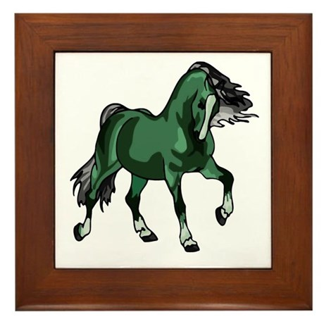 Fantasy Horse Green Framed Tile