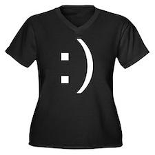Smile :) Women's Plus Size V-Neck Dark T-Shirt