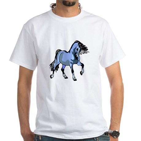 Fantasy Horse Light Blue White T-Shirt