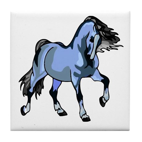 Fantasy Horse Light Blue Tile Coaster