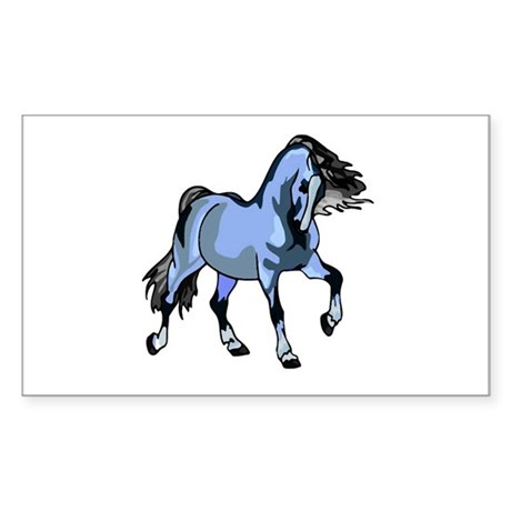 Fantasy Horse Light Blue Rectangle Sticker