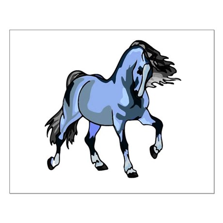 Fantasy Horse Light Blue Small Poster