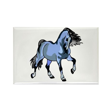 Fantasy Horse Light Blue Rectangle Magnet (10 pack