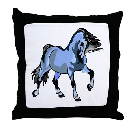 Fantasy Horse Light Blue Throw Pillow