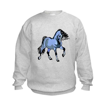Fantasy Horse Light Blue Kids Sweatshirt