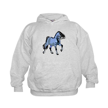 Fantasy Horse Light Blue Kids Hoodie