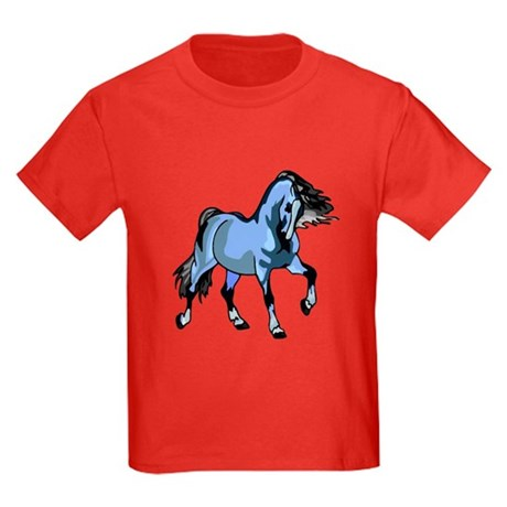 Fantasy Horse Light Blue Kids Dark T-Shirt