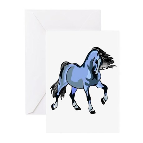 Fantasy Horse Light Blue Greeting Cards (Package o