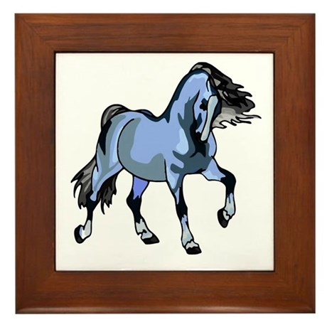 Fantasy Horse Light Blue Framed Tile