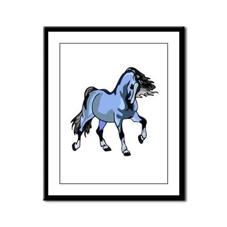 Fantasy Horse Light Blue Framed Panel Print