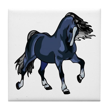 Fantasy Horse Blue Tile Coaster