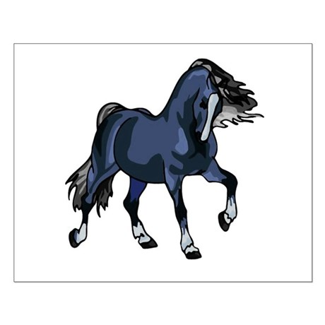 Fantasy Horse Blue Small Poster
