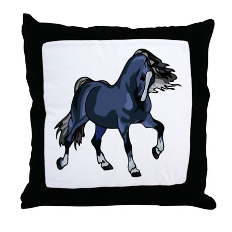 Fantasy Horse Blue Throw Pillow