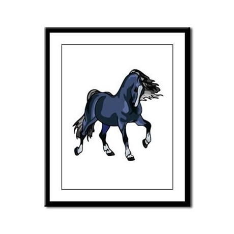 Fantasy Horse Blue Framed Panel Print