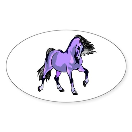 Fantasy Horse Lilac Oval Sticker