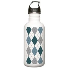 Blue and White argyle Water Bottle