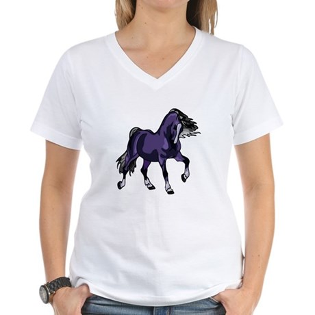 Fantasy Horse Purple Women's V-Neck T-Shirt