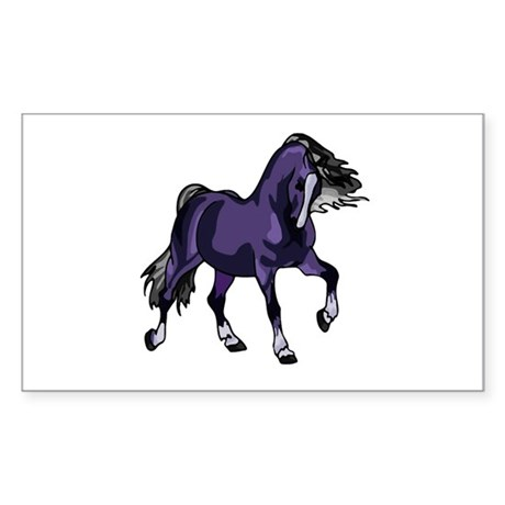 Fantasy Horse Purple Rectangle Sticker