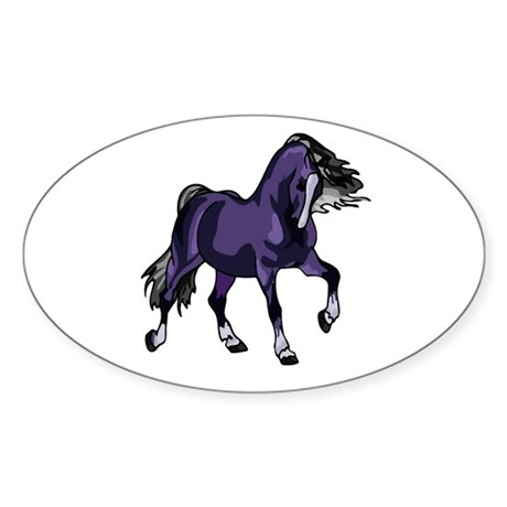 Fantasy Horse Purple Oval Sticker
