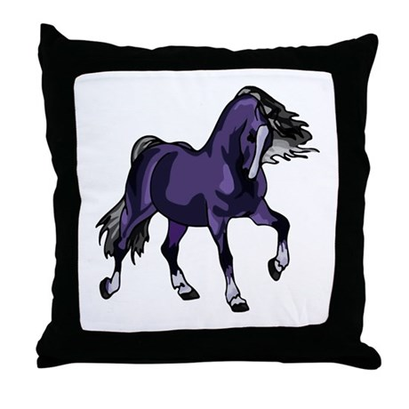 Fantasy Horse Purple Throw Pillow